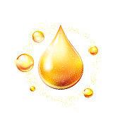 Oil drop gold shining icon. Vitamin. Shining golden substance drop. Vector