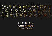 Merry Christmas and happy new year. Black background with festive gold line style