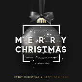 Christmas bauble on black background. Xmas black ball in square frame is on the ribbon with bow. Vector greeting card, poster, banner