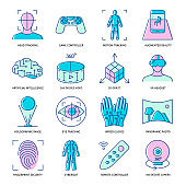 Virtual reality icon set in colored linear style
