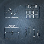 Chalkboard investment icon set in line style