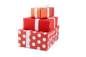 A lot of gift box and white ribbon in season Christmas and new year isolated on white background, group luxury present for birthday or anniversary with surprise in package for happy, holiday concept.