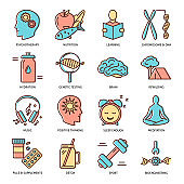 Biohacking icons set in colored line style