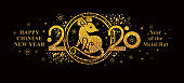 Year of the Rat 2020 in the Chinese calendar. Happy Chinese New Year 2020 horizontal banner.