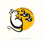 Handwritten Rat 2020. Cute white mouse. Year of the rat inscription on the background of yellow round stamp.