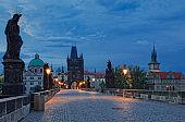 Prague and Charles Bridge at dawn