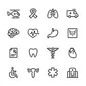 Emergency medicine - outline icon set