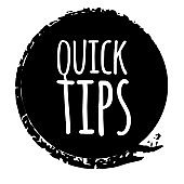 Quick tips badge, helpful tricks logo, label, sticker, emblem and banner isolated on white. Grunge style. Template for a blog, social media, web