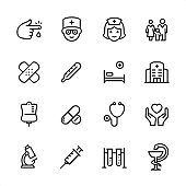 Medical Clinic - outline icon set