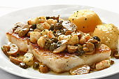 sea bass with shrimp sauce and capers 2
