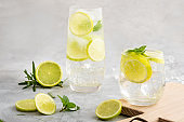 Gin and tonic cocktails with lemon and mint