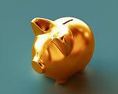 Piggy bank on floor