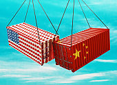 Usa and China containers, import export concept