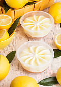 Plastic jar with lemon cheesecake mousse dessert