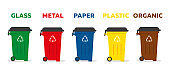 Containers for garbage of different types. Waste sorting and recycling concept. Vector icon illustration.