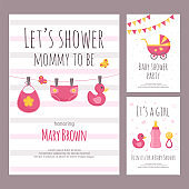 Baby shower invitation vector illustration set in flat style.