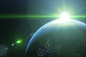 sun ray over the  earth, view from  space, elements of this image furnished by nasa b