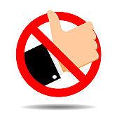 No like symbol, ban addiction social media