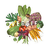Veggie concept. Background with colorful hand drawn vegetables