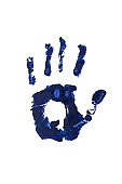 human palm hand print isolated, high detailed texture, crime evidence investigation