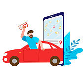 Carsharing. Man rides in a rented car and holds a phone. On the big smartphone screen is a map of the choice of the nearest parking lot is open. Vector illustration