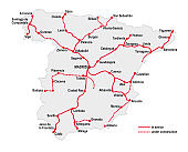 Map of the high speed railway lines in spain