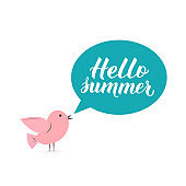 Hello summer lettering with cute cartoon bird and speech bubble. Inspirational seasonal quote typography poster. Easy to edit vector template for  design, banner, flyer, sticker, etc.