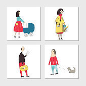 Set of illustrated cards with cute and fun hand drawn characters and elements. Vector illustration.
