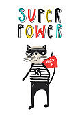 Super Hero - Cute and fun kids nursery poster with cat animal and hand drawn lettering.