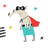 Super Hero - cute and fun kids nursery poster with little anteater animal in hero mask. Vector illustration