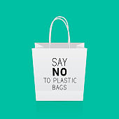 Say no to plastic  bags phrase written on shopping bag on  green background. Pollution problem concept. Ecology slogan  motivational poster. Vector illustration. Easy to edit template.