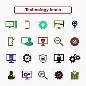 Technology icon set. Flat style vector EPS.