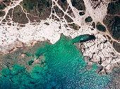 High angle view of a Mediterranean coastline on Kamenjak in Croatia