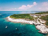 Rocky Mediterranean coastline on Kamenjak in Croatia