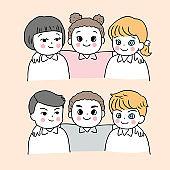 Cartoon cute back to school boys and girls vector.