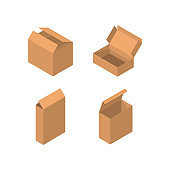 Isometric packaging box vector set. cardboard boxes collection in cartoon style solated on white background.