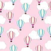 Seamless background of baby shower illustration with cute hot air balloon on pink background suitable for kid wallpaper