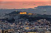 Athens city at sunset