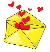 Romantic envelope with many heart.