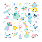 Space hand drawn cartoon vector illustrations set