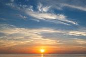 Sunrise at tropical beach, background