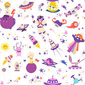Space seamless pattern vector illustrations