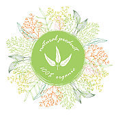 Round organic banner template with herbs and leaves