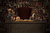 Fantasy image of a wizards desk full of props, 3d render.
