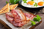 Appetizer fried bacon and toasts