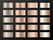 Vector mega set of copper bronze gold gradients.