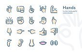 Hands Human Body Parts icons doodle