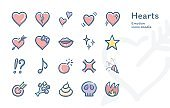 Hearts Emotion vector icons doodle