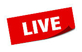 live sticker. live square isolated sign. live