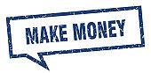 make money sign. make money square speech bubble. make money